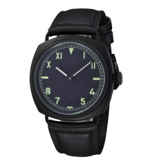 45mm Without Logo PVD Case Black Dial Hand Winding Swan Neck Watch