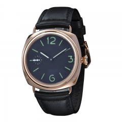 45mm Without Logo Gold Case Black Dial Hand Winding Swan Neck Watch