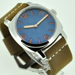 47mm Marina Militare Orange Number Blue Dial Swan Neck Watch