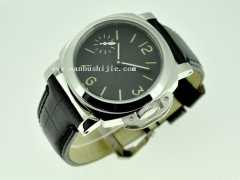 44mm Stainless Steel Case Black Dial Green Numbers Asian 6497 Watch