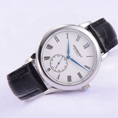 40mm Debert Sapphire glass Roman marks white dial Blue hands Automatic mens Unisex Watch