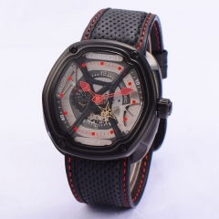 Corgeut 46mm Black PVD Case Gray Dial Red hands  Miyota Automatic WristWatch