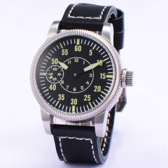 46mm corgeut black sterile dial 6497 movement hand winding mens wrist watch