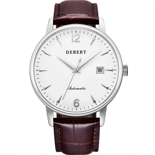 40mm Debert Stainless Steel Silver Case Sapphire glass Genuine Leather Japan Miyota Automatic mens Watches