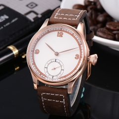 Corgeut 44mm Case White Dial Rose Gold case Hand Winding 6498 Men Watch