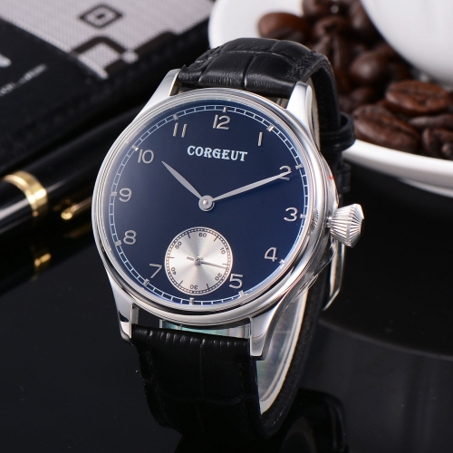 Corgeut 44mm Black Dial stainless Steel Hand Winding 6498 Men Watch