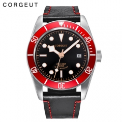 Corgeut  41MM Red Bezel Black Dial Rosegold Marks Sapphire Glass Mens Miyota Automatic Watches