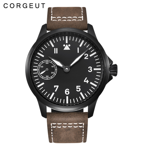 45mm Corgeut black dial 6497 hand winding mens military watch