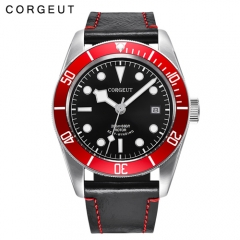 Corgeut New Arrival 41MM SS Case Red Bezel Sapphire Glass Luminous Show Automatic Watch