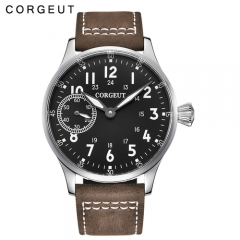 44mm Corgeut Stainless Steel Case Genuine Strap hand winding military Mens watch