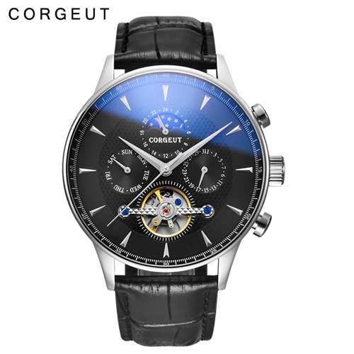44mm Domed Glass Moon Phase Black Dial Date & Day Mens Corgeut Automatic Watches