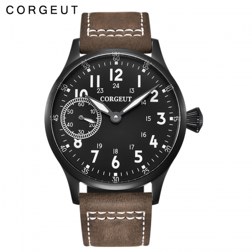New Arrival 44mm Corgeut black dial 6497 hand winding mens military watch