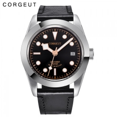Corgeut Men Automatic Sport Design Clock Leather Mechanical Wrist Watches
