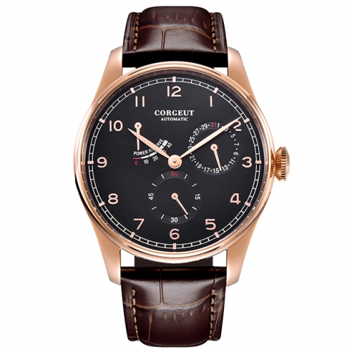 42mm Corgeut black dial date rosegold case Power Reserve ST1780 automatic mens watch