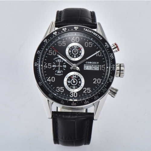 44mm Corgeut black dial leather Date week Automatic movement men's Wristwatches