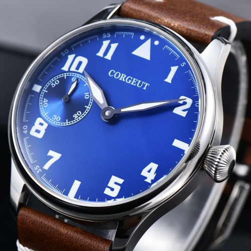 44mm Corgeut blue dial Stainless Steel Case Genuine Strap hand winding military Mens watch