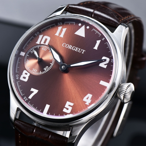 44mm Corgeut brown dial Stainless Steel Case Genuine Strap hand winding military Mens watch