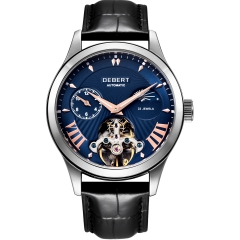 41mm Debert Blue dial Moon Phase Tour billon 22 jewels mens Automatic watch