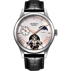 Debert 41mm white dial Moon Phase Tour billon 22 jewels mens Automatic watch
