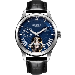 Debert 41mm Blue dial Moon Phase Tour billon 22 jewels mens Automatic watch