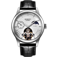 41mm Debert white dial Moon Phase Tour billon 22 jewels mens Automatic watch