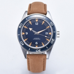 41mm Corgeut sterile blue dial sapphire glass Leather strap Luminous miyota Automatic mens Watch