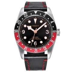 Corgeut  41MM Red&black Bezel Black Dial Rosegold Marks Sapphire Glass Mens Miyota Automatic Watches