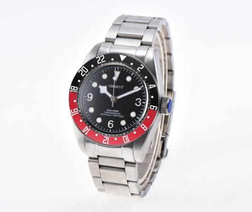 Sapphire Glass 41mm Corgeut red&black bezel black dial miyota Automatic men Watch
