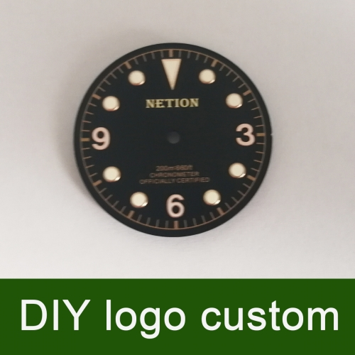 30.4mm Black/coffee DIY custom Watch Dial for ETA 2824/2836 Miyota 82 movement