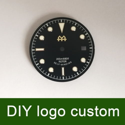 30.4mm Black DIY custom Watch Dial for Unitas ETA 2824/2836 Miyota 82 movement