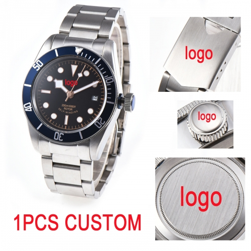 41MM DIY logo custom Blue Bezel Gold Number Sapphire Glass Japan MIYOTA Automatic Movement men Watch