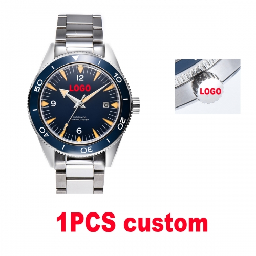 41mm Custom LOGO design blue dial sapphire glass bracelet Luminous miyota Automatic mens Watch