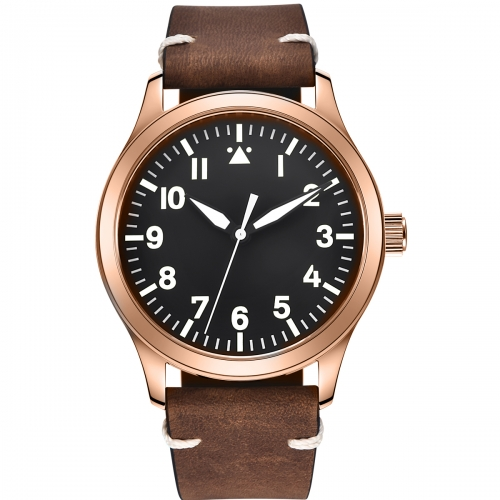 42mm Corgeut Sapphire Crystal rosegold leather Sterile black Dial Miyota Automatic Mens Watch