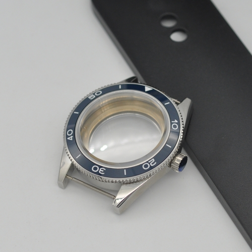 41mm Blue Ceramic Bezel Sapphire Cystal Watch Case Fit ETA 2824 2836 Movement