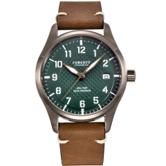 40mm Corgeut green dial SS Khaki case date pilot Automatic Japan NH35 mens watch