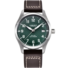 40mm Corgeut green dial SS case date pilot Automatic Japan NH35 mens watch
