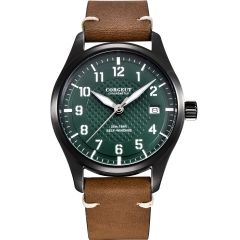 40mm Corgeut green dial SS PVD case date pilot Automatic Japan NH35 mens watch