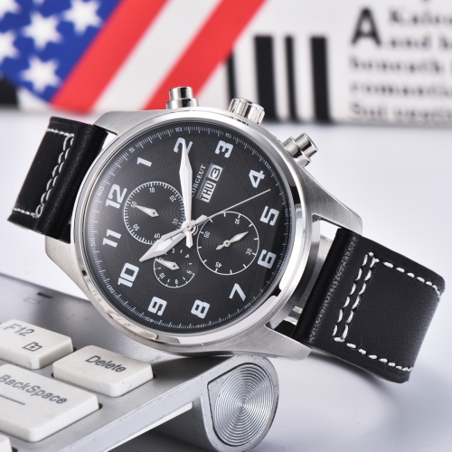 41mm Corgeut black dial Stainless Steel Case Style Full Chronograph Mens Watch