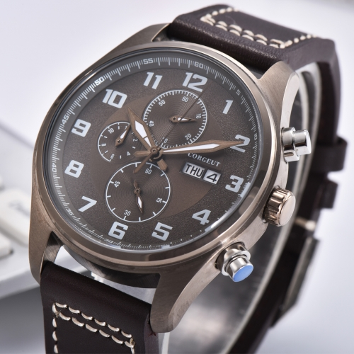 41mm Corgeut brown dial PVD Stainless Steel Case Style Full Chronograph Mens Watch