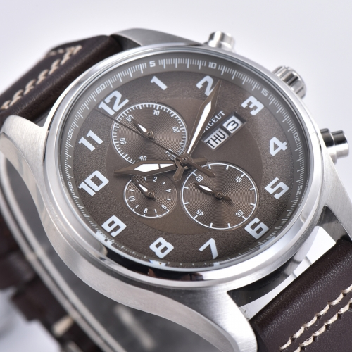 41mm Corgeut brown dial Stainless Steel Case Style Full Chronograph Mens Watch