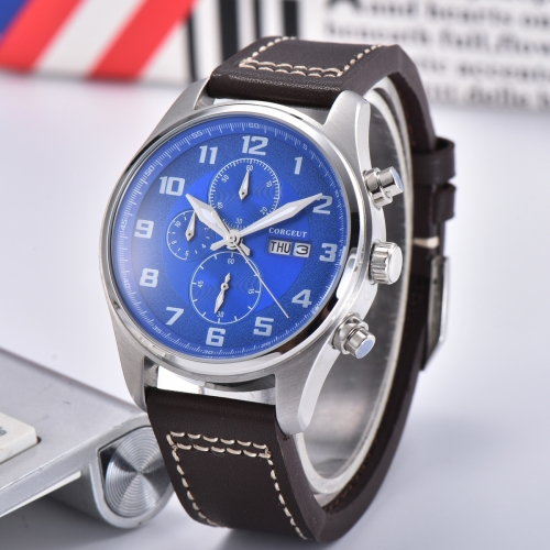 41mm Corgeut blue dial Stainless Steel Case Style Full Chronograph Mens Watch