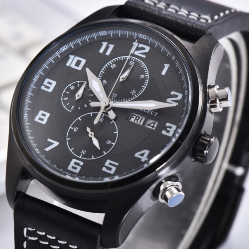 41mm Corgeut Black dial PVD Stainless Steel Case Style Full Chronograph Mens Watch