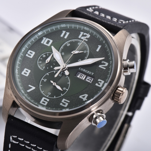 41mm Corgeut green dial PVD Stainless Steel Case Style Full Chronograph Mens Watch