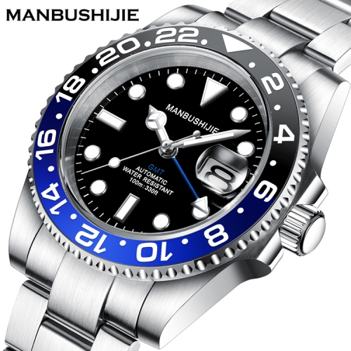 40mm GMT MANBUSHIJIE Black Dial Sapphire ceramic bezel Automatic Luxury Mens Watch