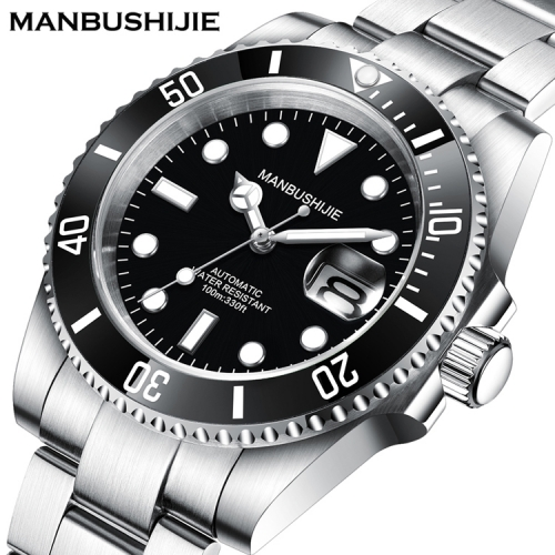 40mm MANBUSHIJIE black Dial sub Sapphire glass Automatic Luxury Mens Watch