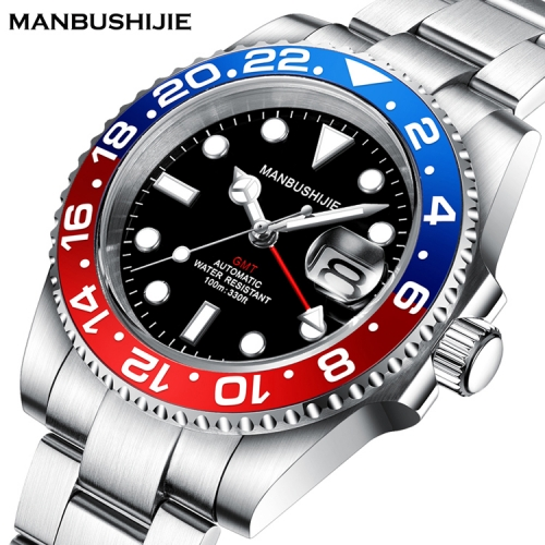 40mm MANBUSHIJIE GMT Black Dial Sapphire glass Automatic Luxury Mens Watch