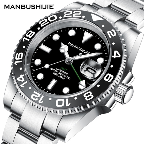 40mm MANBUSHIJIE GMT Black Dial Sapphire ceramic bezel Automatic Luxury Mens Watch