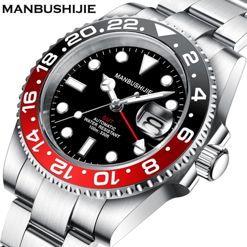 40mm MANBUSHIJIE Black Dial GMT Sapphire glass Automatic Luxury Mens Watch