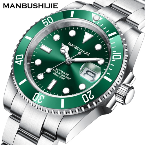 40mm MANBUSHIJIE green Dial sub Sapphire glass Automatic Luxury Mens Watch