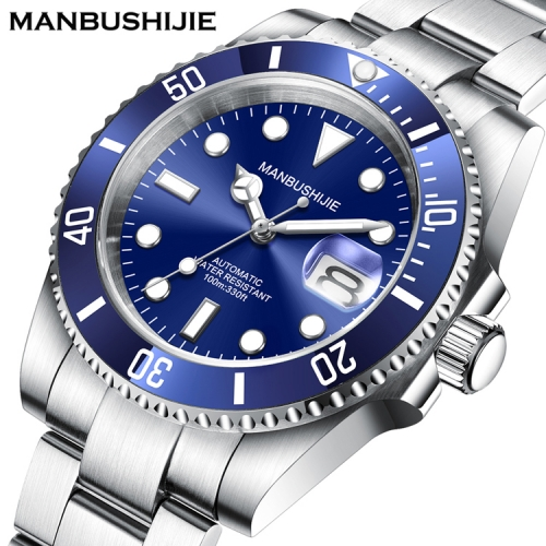 40mm MANBUSHIJIE blue Dial sub Sapphire glass Automatic Luxury Mens Watch